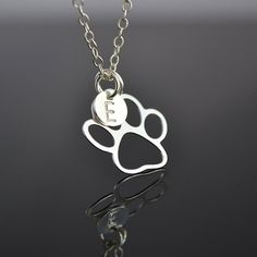 Paw Necklace, Sterling Silver Dog Paw Charm with Initial Disc, monogram Gift for Pet Lover, Paw Print Necklace, Animal Jewelry