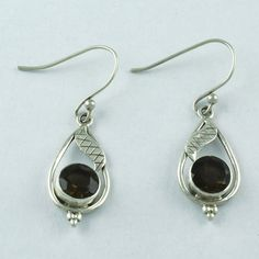 925 STERLING HANDMADE SILVER SMOKY QUARTZ STONE FASHION EARRINGS S.4 cm E 2197 #SilvexImagesIndiaPvtLtd #DropDangle