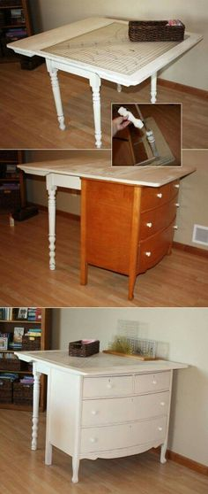 A vintage drop-leaf table was too short to serve as a fabric cutting station. Pair it with an old dresser, lengthen the legs, add a few coats of paint, and we have a great cutting table with storage. Another great idea for my new sewing room. Refurbished Furniture, Repurposed Furniture, Furniture Makeover, Painted Furniture, Desk Makeover, Furniture Projects, Furniture Making, Diy Furniture, Kitchen Furniture
