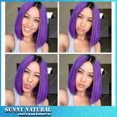 42.00$  Buy now - http://alitxt.worldwells.pw/go.php?t=32670463534 - Silk Straight Ombre Purple Synthetic Lace Front Wig Short Bob Wig Glueless Black/pink Heat Resistant Hair Wigs For Women 42.00$