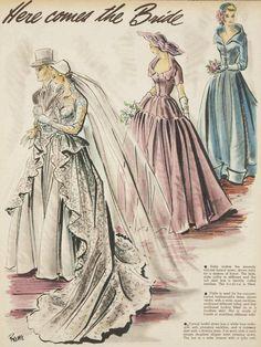 """Here Comes the Bride"" ~ Designs for the June Bride, 1950 Wedding Dress Patterns, Vintage Dress Patterns, Vintage Dresses, Vintage Outfits, Vintage Fashion, Vintage Shoes, Retro, Gown Pattern, Wedding Dress Accessories"