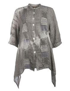 Zele Leinen-Jacke mit Zipfelsaum in Grau
