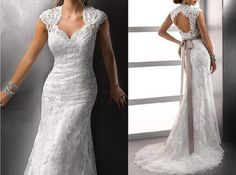 Free Shipping 2014 New Mermaid Wedding/Cap Sleeve Lace Wedding/Court Train/Sexy Halter Wedding Dress with Belt/White/Ivory Lace Bridal Gown on Etsy, $196.00