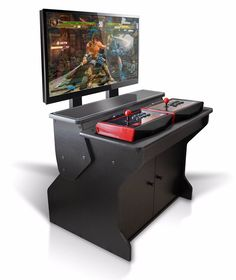 The Xtension Sit Down Pedestal Arcade Cabinet For Fight Sticks offers an extremely comfortable next-generation game console and classic style of arcade game play. Retropie Arcade, Bartop Arcade, Arcade Room, Arcade Stick, Arcade Games, Arcade Cabinet For Sale, Arcade Cabinet Plans, Garage Game Rooms, Basement Games