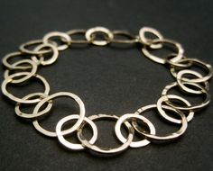 Gold Bang Bracelet  Solid 14k Yellow Gold Round Hammered by erga, $880.00