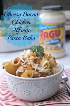 This Cheesy Bacon Chicken Alfredo Pasta Bake is a tradition in our house. It's quick and tasty and my family loves it! Yours will too! Make it a tradition in your home! #simmeredintradition #ragu #AD