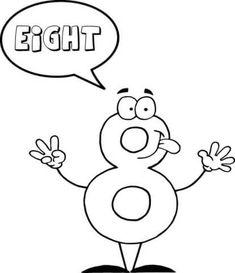 El Número 8 Se Dice OCHO Dibujo para colorear. Categorías: Números de Dibujos Animados en Inglés 0-10. Páginas para imprimir y colorear gratis de una gran variedad de temas, que puedes imprimir y colorear.