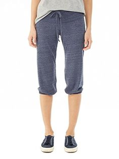 Alternative Women's Crop Pant, Eco True Navy, Large - The perfect workout partner, these comfy pants are designed to keep you cool with cropped legs and a lightweight, eco-friendly fabric. This style features a wide waistband, with drawstring ties, and elastic casing at bottom hems for added comfort and movement.  - http://ehowsuperstore.com/bestbrandsales/clothing/alternative-womens-crop-pant-eco-true-navy-large