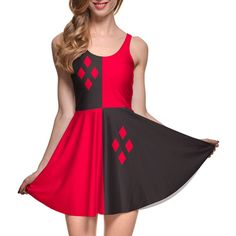 New 2016 Fashion Dress Sexy Party Dress galaxy 3D print  HARLEY QUINN REVERSIBLE SKATER DRESS casual dresses