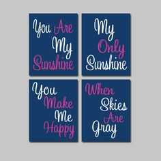 Navy Hot Pink - You Are My Sunshine 8x10 Set of 4 Wall Art Decor Prints Poster Nursery Child Kid Room Typography. $38.00, via Etsy.