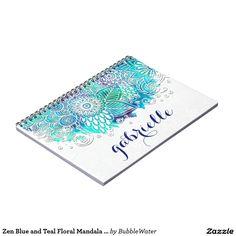 Zen Blue and Teal Floral Mandala Design Notebook