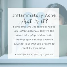 Inflammatory acne – what is it? Are all spots inflammatory? You might also know these as hormonal spots of cystic acne. They're the kind of spots that become red and raised. Inflammatory acne and spots are caused by a blockage of dead skin cells and sebum – this can be caused by certain skincare products that cause skin to temporarily purge. Click above to understand which skincare products can cause this.