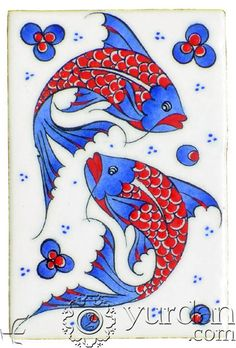 Iznik Tile - Quartz An important cultural center during the reign of Suleyman the Magnificent, the rural town of Iznik (ancient Nicea) nestles on a lakeside in Northwest Turkey. Madhubani Art, Madhubani Painting, Turkish Art, Turkish Tiles, Turkish Pattern, Cup Art, Handmade Tiles, China Painting, Fish Art