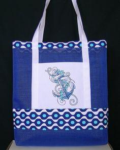 Nautical Vinyl Mesh Tote Bag