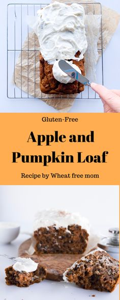 A moist gluten-free loaf with both apples and pumpkin in it Pumpkin Loaf, Baked Pumpkin, Pumpkin Spice, Loaf Recipes, Gluten Free Recipes, Cake Recipes, Honeycrisp Apples, Baking Muffins, Food Print