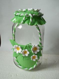 vidro decorado em biscuit