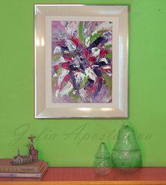 Abstract Painting Original, White #SilverFrame #FloralArt #Modern #FramedPainting #WhiteandPink #PinkArt #PurpleArt #ChristmasGifts #LargeWallArt by #JuliaApostolova on #Etsy