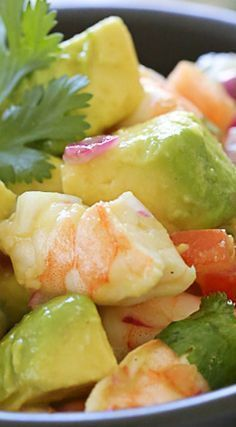 Zesty Lime Shrimp and Avocado Salad, talk about a light and refreshing salad that requires no cooking! Lime juice and cilantro are the key ingredients to creating this wonderful, healthy salad you'll want to make all summer long. Avocado Recipes, Fish Recipes, Seafood Recipes, Salad Recipes, Cooking Recipes, Recipies, Cooking Ribs, Detox Recipes, Cheese Recipes