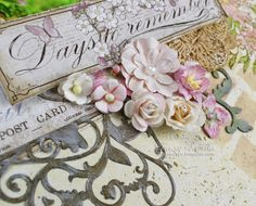 Days to Remember by Tracey Sabella for Once Upon A...Sketch ~ Close-up: Maja Design Vintage Spring Basics, Layering, Prima, Wild Orchid Crafts, Stamping, Watercolor Pencils Prismacolor, Chipboard, Inking, Gesso, Mixed Media, Splatter, Spellbinders Garden Weave, OUAS