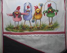 Pintura em tecido - galinhas atletas(VENDIDO)