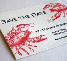Save the Date Maine wedding idea with lobsters. http://www.fostersclambake.com. Lobster and clambakes in York, Maine.