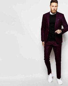 Image 1 of ASOS Slim Wool Rich Suit in Purple