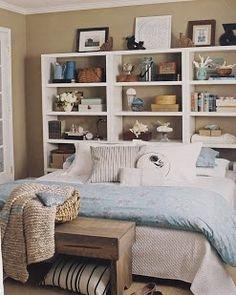 shelves behind bed | shelves behind bed