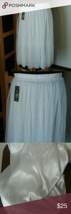 """Ladies TULLE Skirt Ladies TULLE Skirt- WHITE, One size fits all,  5 Layers of TULLE and 1 built-in satin slip attached. Can dress up or down! NWT, EXCELLENT CONDITION!! 🚫NO PETS 🚫NO SMOKE 🚫NO FLAWS. APPROXIMATELY: 32"""" from waistband to bottom of skirt. Skirts Maxi"""