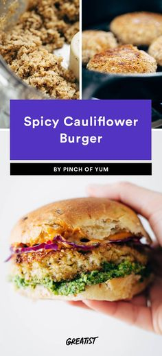 7. Spicy Cauliflower Burger #healthy #veggieburger # https://greatist.com/eat/veggie-burgers-even-meat-eaters-will-love