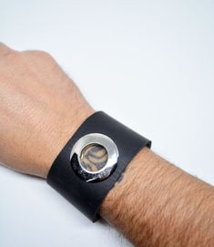 Mens Leather Bracelet Adjustable Leather Bracelet Black Leather Cuff