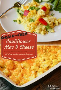 Healthy, Low-Carb Cauliflower Mac and Cheese Recipe: Perfect for grain-free or low-carb diets and busy working moms Healthy Cottage Cheese Recipes, Vegetable Recipes, Veggie Dishes, Food Dishes, Side Dishes, Low Carb Recipes, Real Food Recipes, Gluten Free Recipes, Vegetarian Recipes