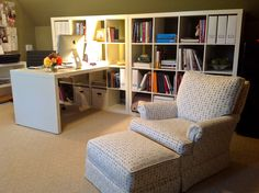 Expedit bookcases and desk from Ikea