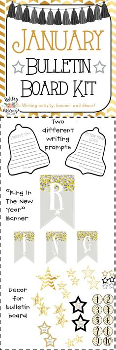 Ring in the new year with this January Bulletin Board Kit- New Years Bulletin Board.