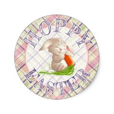 Hoppy happy easter bunny stripes and plaid pattern round pillow hoppy happy easter bunny stripes and plaid pattern classic round sticker negle Image collections