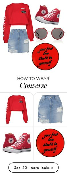 """""""Untitled #70"""" by ayshaboo on Polyvore featuring SJYP, Tommy Hilfiger, Converse, Gucci and denimskirts Red Converse Outfit, Style Converse, How To Wear Cardigan, How To Wear Scarves, Sneakers Street Style, Casual Street Style, Classy Summer Outfits, Cool Outfits, Converse Rouge"""