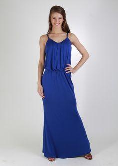 Spaghetti Strap Royal Blue Maxi Dress  #Kieus10year