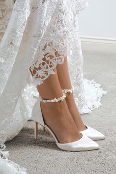 Ella Ivory Satin Keshi Pearl Ankle Strap Court Shoes by Perfect Bridal - - Beautiful wedding shoes for the modern bride. Decadent D'orsay heels, crafted in ivory satin and adorned with iridescent, light catching keshi pearls. Wedding Shoes Bride, White Wedding Shoes, Wedding Boots, Wedding Shoes Heels, Wedding Accessories For Bride, Wedding Lace, Best Wedding Shoes, Wedding Heals, Bride Shoes Flats
