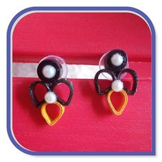 Are you fond of wearing ear studs . then here is the tutorial for making Quilled Studs which is easy to make and looks desc. Paper Magic, Ear Studs, Pearl Earrings, Shapes, Pearls, Jewelry, Pearl Studs, Jewels, Studs
