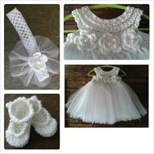 Crochet TuTu Dress set this so pretty. Wish I could crochet. Baby Girl Crochet, Crochet Baby Clothes, Knit Or Crochet, Crochet For Kids, Crochet Crafts, Crochet Projects, Baby Patterns, Crochet Patterns, Crochet Tutu Dress