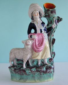 Victorian Staffordshire ~ Scottish Highland Girl & Sheep ~ Figure c1860 ~ NR