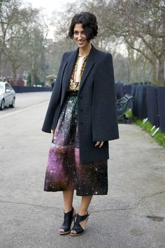Yasmin Sewell in YSL coat, Mary Katrantzou top, Chistopher Kane skirt, and Nicholas Kirkwood shoes. Photo by Phil Oh