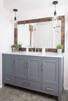 Get inspired by Modern Farmhouse Bathroom Design photo by Cherished Bliss. Wayfair lets you find the designer products in the photo and get ideas from thousands of other Modern Farmhouse Bathroom Design photos. Farmhouse Bathroom Mirrors, Bathroom Renos, Bathroom Remodeling, Vanity Bathroom, Bathroom Furniture, Remodel Bathroom, Wood Bathroom Mirror, Gold Bathroom, Gray Bathrooms