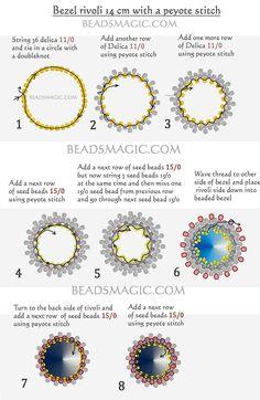 Free tutorial for beautiful beaded snowflake with rivoli Swarovski. U can use it like ornament or