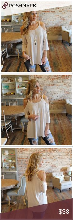 """Stone Cold Shoulder 3/4Sleeve Tunic Modeling size small.  80.5% rayon 19.5% cotton Bust laying flat pit to pit: S 19"""" M 20"""" L 21"""" Length S 30"""" M 31"""" L 32"""" Add to bundle to save when purchasing  IRPD7000209.P2222 Infinity Raine Tops Tunics"""