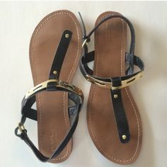 Black and gold sandals leather size 9 Bonny worn a few times! Shoes Sandals