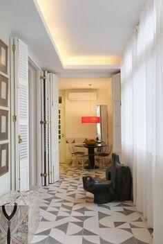 Padrão aplicado em ladrilho hidráulico para apartamento projetado por Neder Monteiro Arquitetura. Coletivo Muda