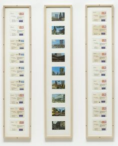 i got up . . . , 1977 • ink and stamps on postcards, in three frames • on kawara