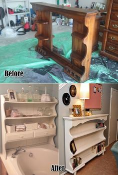 Dresser Hutch Turned Into Shelves For The Bathroom and Entryway. 2019 Dresser Hutch Turned Into Shelves For The Bathroom and Entryway. The post Dresser Hutch Turned Into Shelves For The Bathroom and Entryway. 2019 appeared first on Entryway Diy. Modular Furniture, Refurbished Furniture, Repurposed Furniture, Unique Furniture, Furniture Projects, Rustic Furniture, Furniture Makeover, Vintage Furniture, Furniture Design