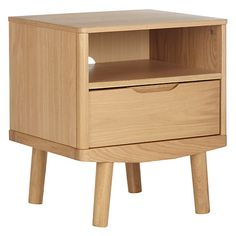 Buy House by John Lewis Bow 1 Drawer Bedside Table Online at johnlewis.com