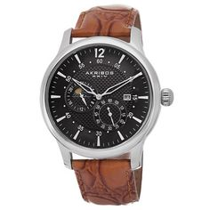 Akribos XXIV Men's Stainless Steel Automatic Multifunction Strap Watch